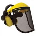 Щиток для работы с мотокосой и бензопилой защитный металлическая сетка + наушники