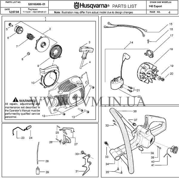 схема запчастей бензопилы HUSQVARNA 142 страница 4