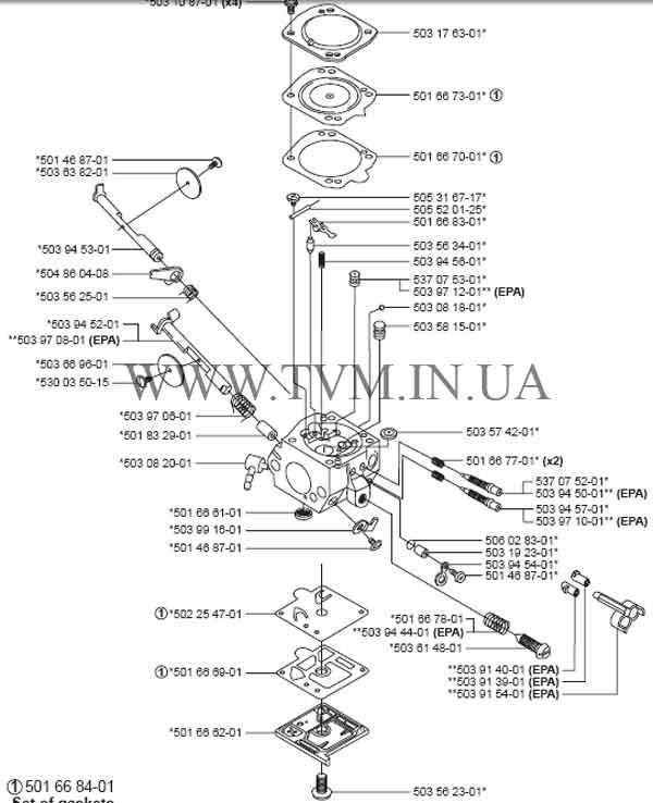 схема запчастей бензопилы HUSQVARNA 350 страница 7