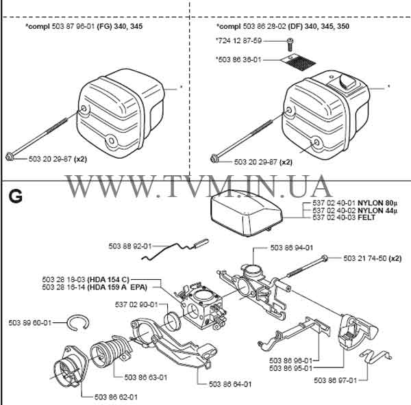 схема запчастей бензопилы HUSQVARNA 350 страница 9