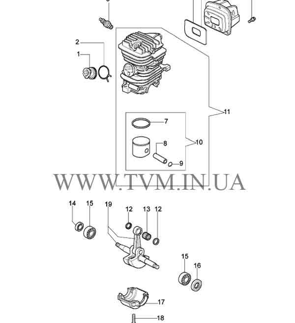 схема запчастей бензопилы OLEO-MAC 937 страница 1