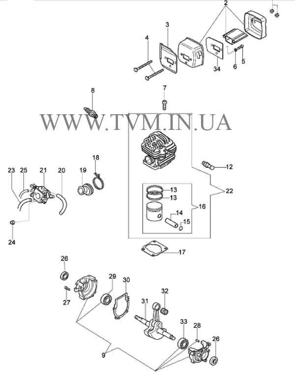 схема запчастей бензопилы OLEO-MAC 952 страница 1