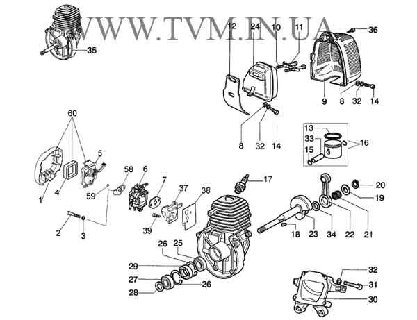 схема запчастей мотокосы