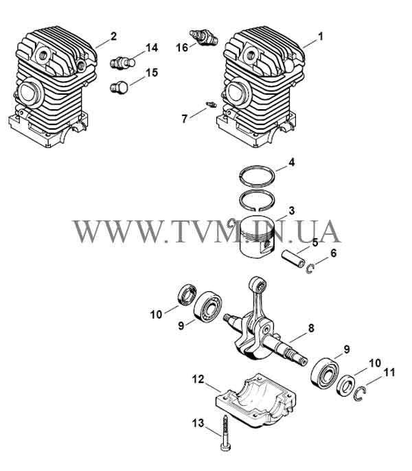 схема запчастей бензопилы STIHL MS 210 страница 1