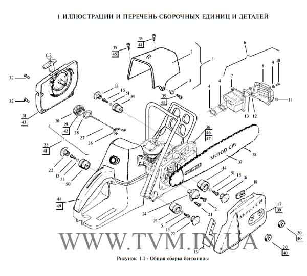 схема запчастей бензопилы МОТОР СИЧ 270, 370 страница 1