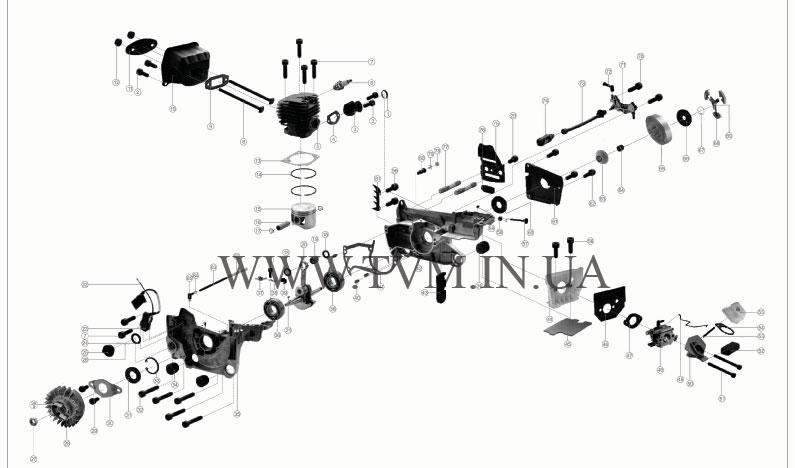 Схема запчастей китайской бензопилы