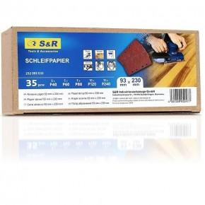 Набор шлифовальных листов S&R 93x230 мм, 35 шт