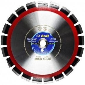 Диск алмазный сегментный S&R Premium Segment 350х25,4 мм (асфальт/бетон)