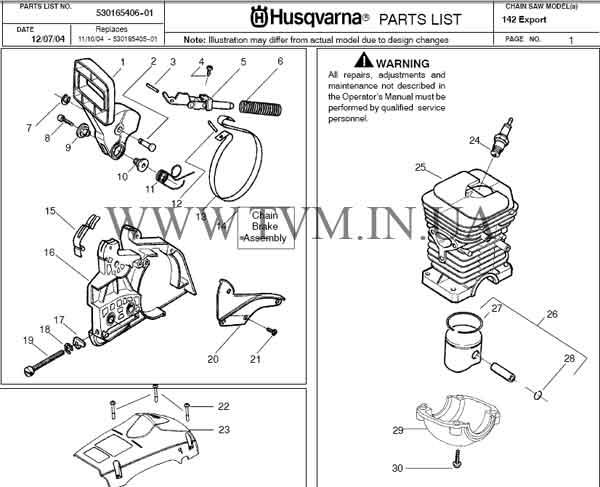 схема запчастей бензопилы HUSQVARNA 142 страница 1