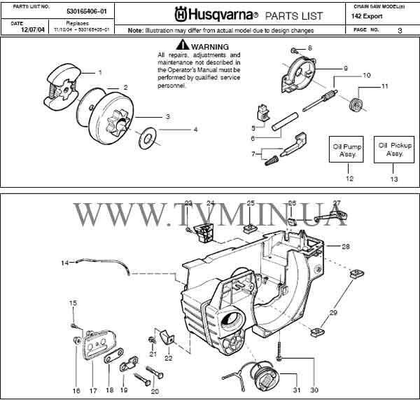 схема запчастей бензопилы HUSQVARNA 142 страница 3