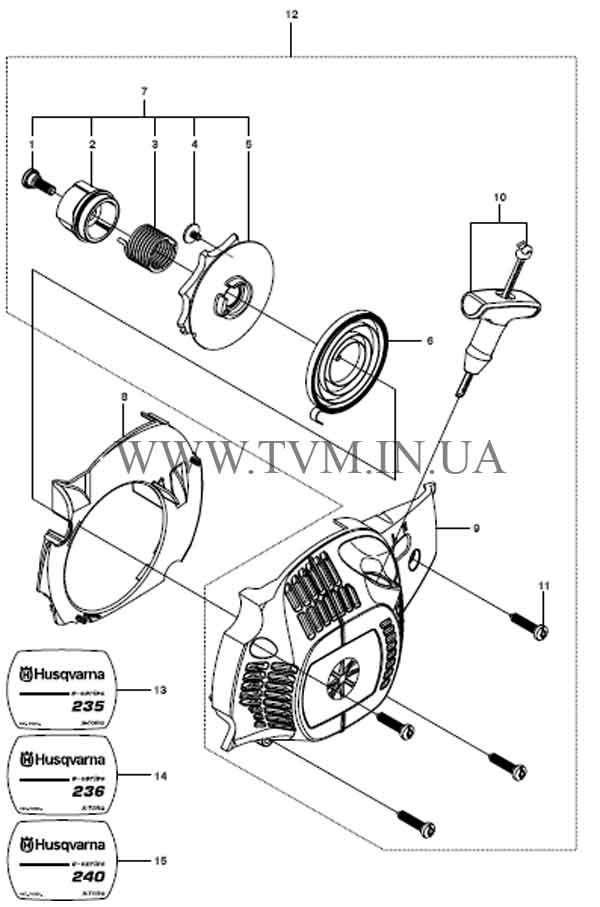 схема запчастей бензопилы HUSQVARNA 240 страница 3