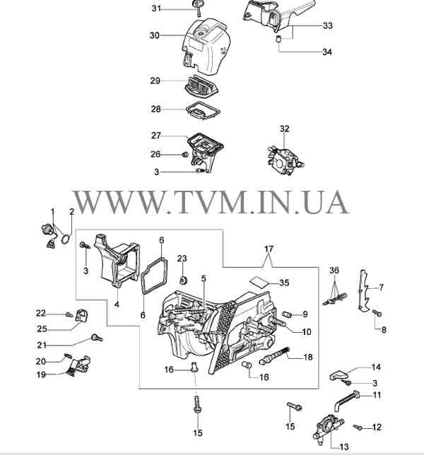 схема запчастей бензопилы OLEO-MAC 937 страница 3
