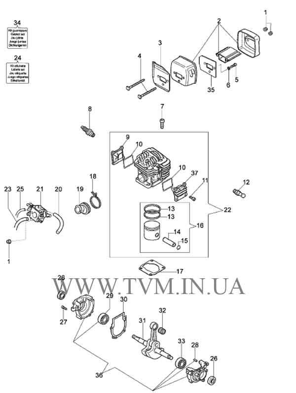 схема запчастей бензопилы OLEO-MAC 947 страница 1