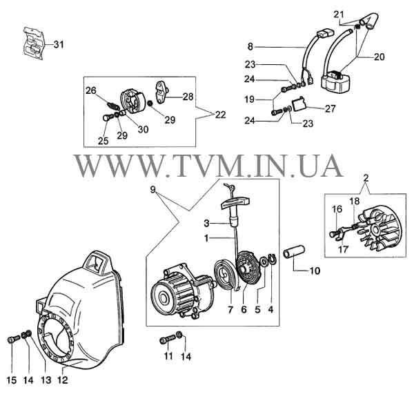 схема запчастей мотокосы OLEO-MAC SPARTA 25 и EFCO STARK 25 страница 3