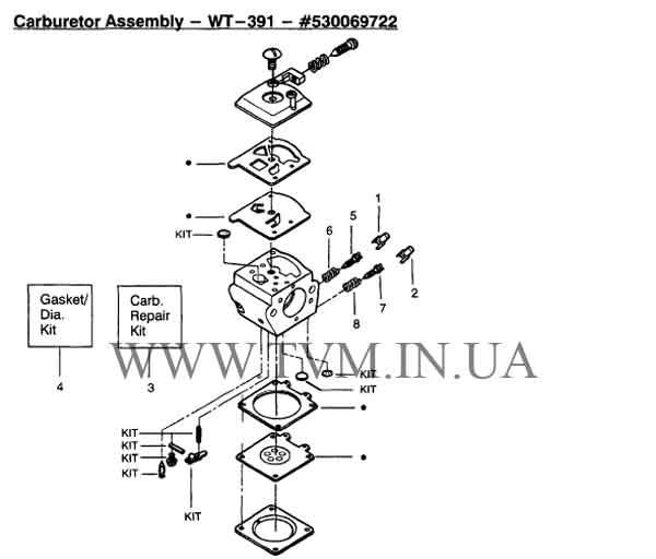 схема запчастей бензопилы PARTNER страница 3