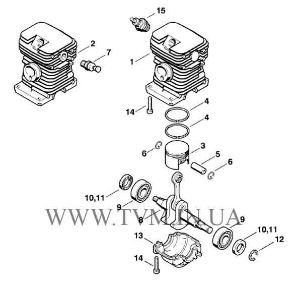 схема запчастей бензопилы STIHL MS 180 страница 2