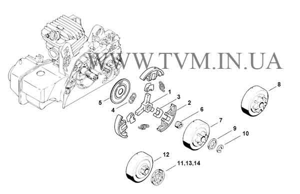 схема запчастей бензопилы STIHL MS 230 страница 4