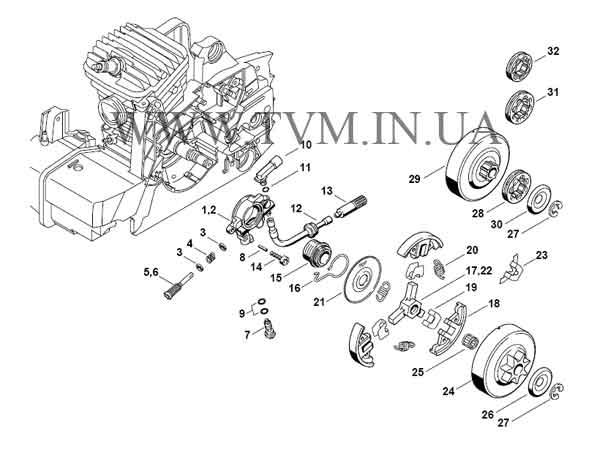 схема запчастей бензопилы STIHL MS 290 страница 3