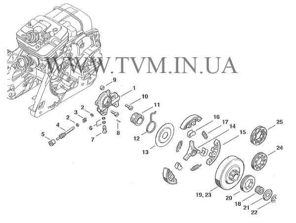 схема запчастей бензопилы STIHL MS 361 страница 3