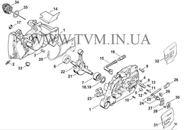 схема запчастей бензопилы STIHL MS 440 страница 1