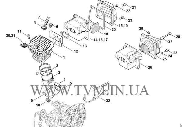 схема запчастей бензопилы STIHL MS 440 страница 2
