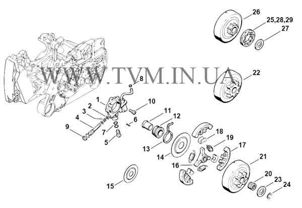 схема запчастей бензопилы STIHL MS 440 страница 3