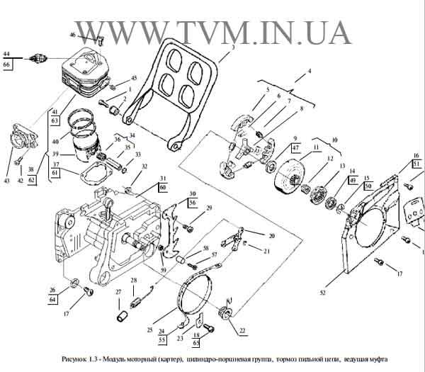 схема запчастей бензопилы МОТОР СИЧ 270, 370 страница 3